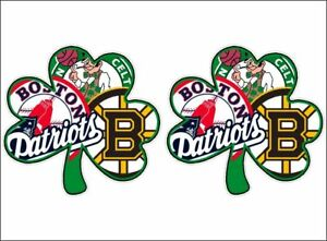 Boston Sports Fan Shamrock NEW PAIR Vinyl Vehicle Boston - Custom vinyl decals boston