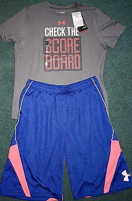 NWT Boys Under Armour XL Gray//Neon Red//Black CHECK THE SCOREBOARD Shorts Set YXL