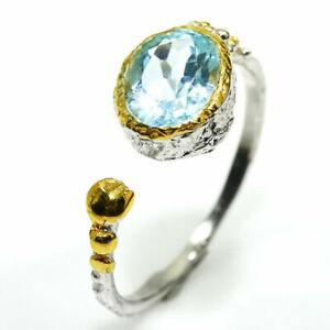 Fineart-Schmuck-naturlicher blauer Topas 925 Sterlingsilber-Ring / RVS03