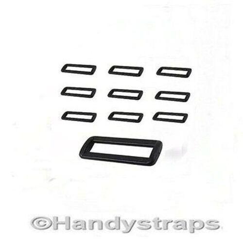 2 hebillas de bucle de Barra 10 X 25 mm negro plástico