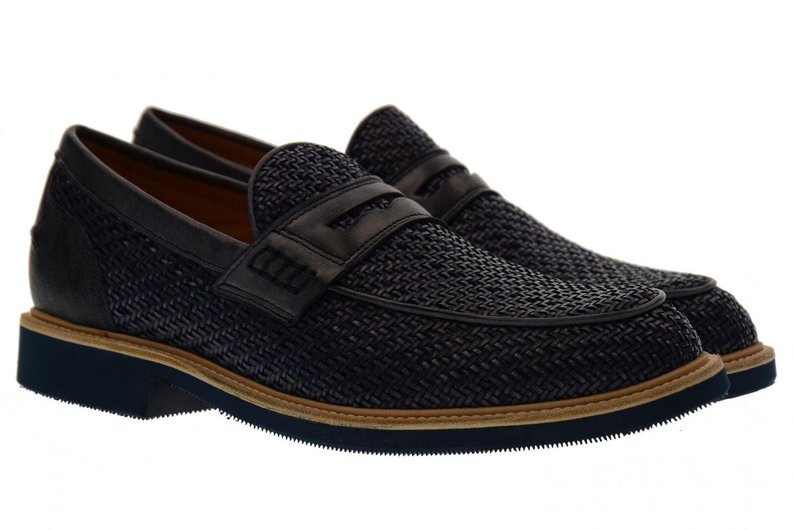 Antica Cuoieria scarpe uomo mocassini 20206-I-V04 INTRECCIO OYSTER BLU P18 Scarpe classiche da uomo