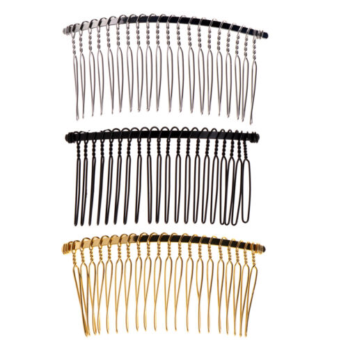 3 X DIY Blank Metal Hair Clips Wedding Side Comb 20 Teeth Bridal Accessories