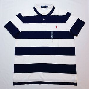NWT-MENS-RALPH-LAUREN-S-S-POLO-SHIRT-SLIM-FIT-NAVY-LARGE