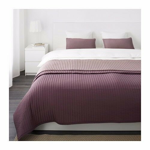 KARIT Bedspread and 2 Cushion Covers Lilac Purple 280x260cm Queen King Bed