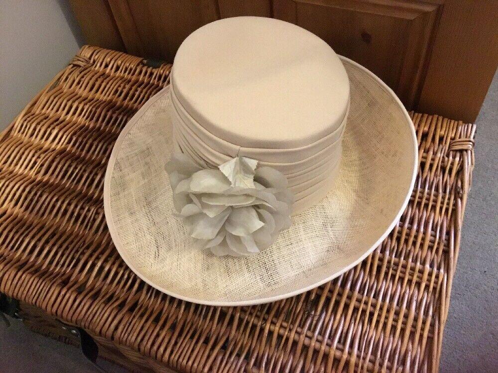 Whiteley Formal Wedding Mother Of Bride Groom Hat Sinamay Satin Ribbon Ivory