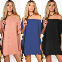 SEXY WOMENS LADIES DRESS OFF THE SHOULDER BARDOT BUTTON SHIRT DRESS TOP UK 6-18