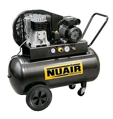 Compressore 2 Hp serbatoio 100 lt litri bicilindrico cinghia Nuair -madeinitaly