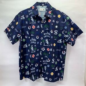 Chicago White Sox Hawaiian Shirt Medium Blue Beggars Pizza Game Day Promo MLB