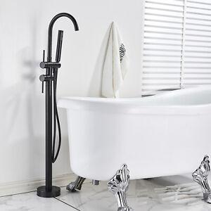 Noir Moderne Mitigeur Robinet de baignoire Hauteur Réglable Douchette Laiton