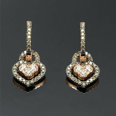 0.50CT ROUND HEART SHAPE BRIDAL EARRINGS IN 14KT SOLID ROSE GOLD
