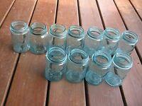 11 pcs Vintage Used Blue Pint Jars Fruit Jars no lids
