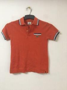 LACOSTE-Arancione-T-shirt-Taglia-8y-Ragazzi-Manica-Corta-E79