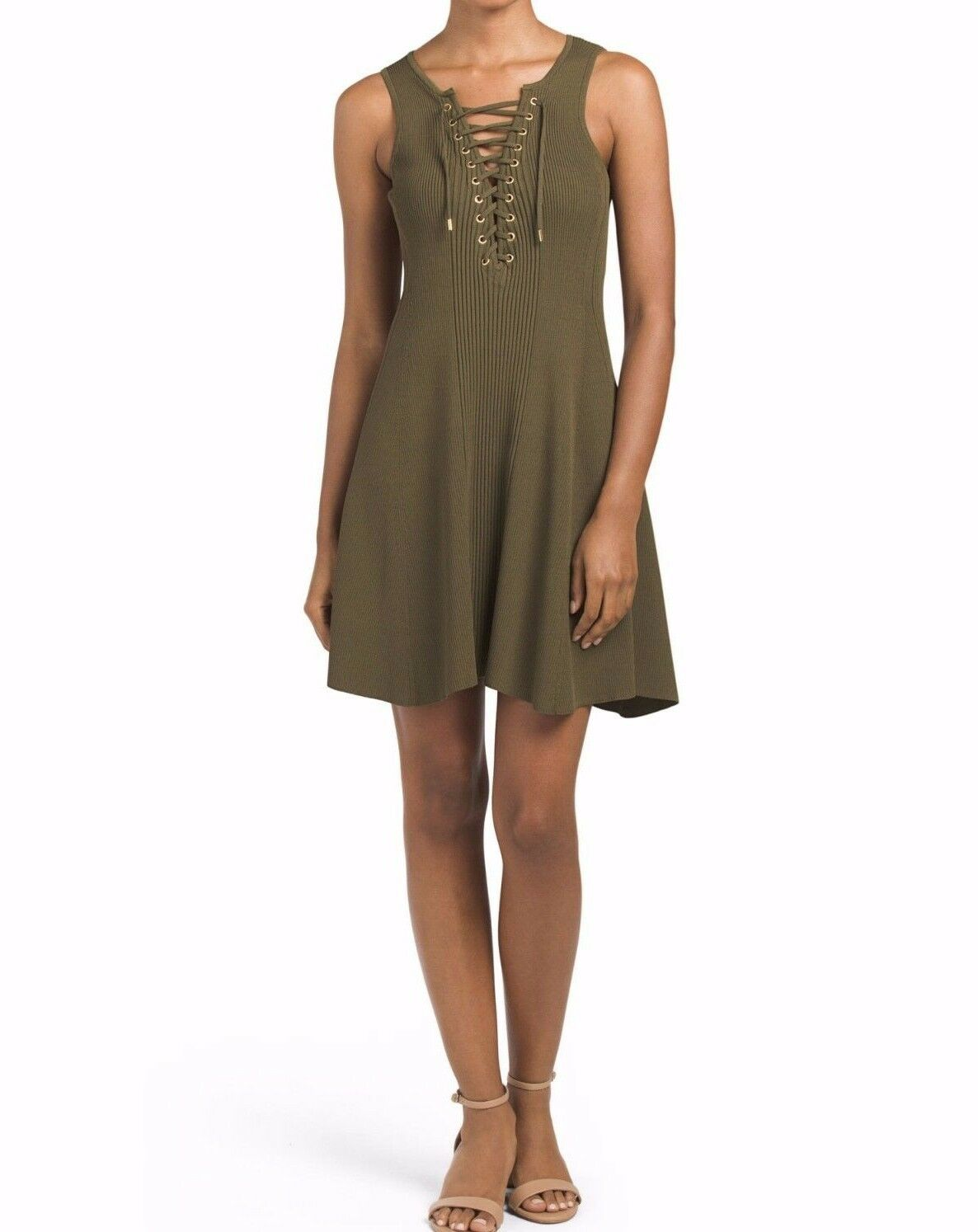 NWT TORN BY RONNY KOBO SzL LACE UP TEXTUrot FIT AND FLARE SLEEVELESS DRESS OLIVE