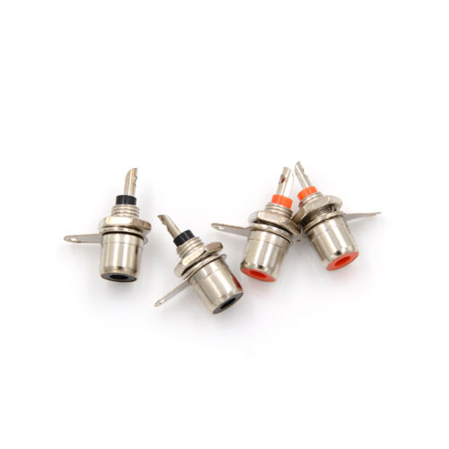 4Pcs Amplifier Metal RCA Phono Chassis Panel Mount Female Socket Connector  daMV