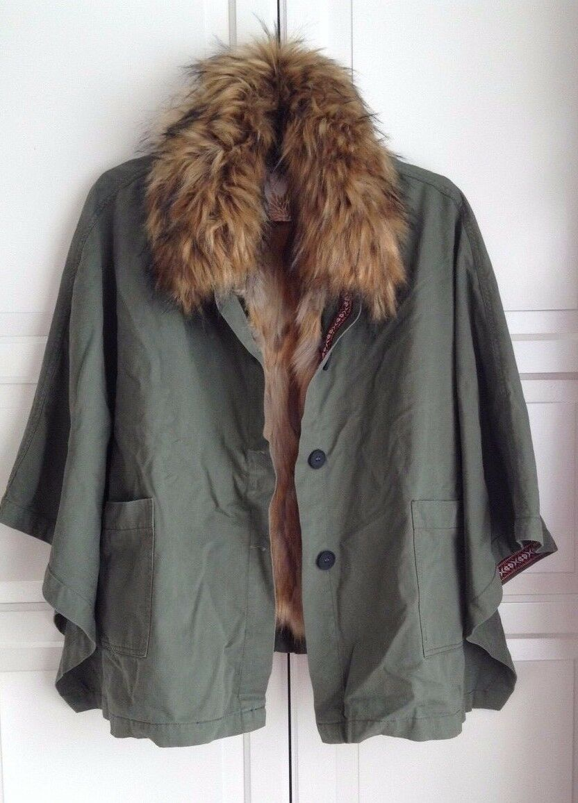 East , Detachable Fur and lined Poncho UK Size ( M ) RRP -   ( LAST ONE )