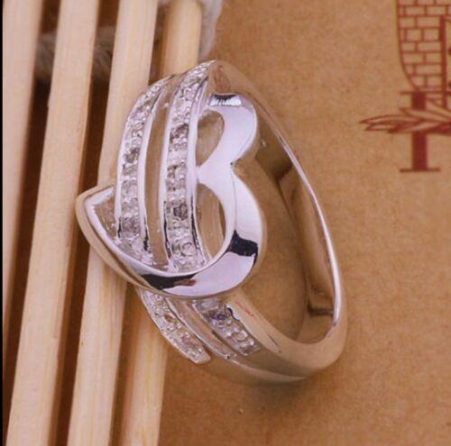 Popular Silver Plated Wedding Ring Rhinestone Women US Size 6-9 Top