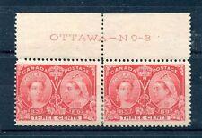 #53 Plate imprint OTTAWA - No. - 3 pair F MH Cat $50 Canada mint