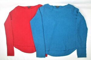 Lot-of-2-Express-Womens-Knitted-Sweater-Sz-XS-Rayon-Wool-Boat-Neckline-Pullover