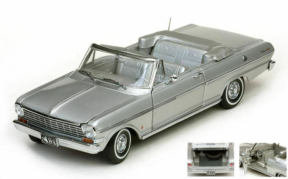 Chevrolet nova open converdeible 1963 satin argentoo 1 18 auto stradali scala