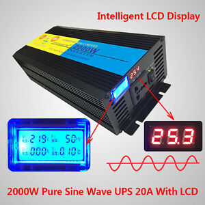 2000W Pure Sine Wave Power Inverter 24V DC to 220V - 240V AC LCD/UPS/Charge<wbr/>r