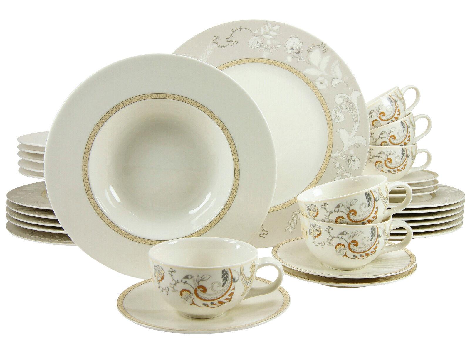 Palacio Combi Service vaisselle 30 pièces 6 personnes porcelaine Creatable 16665