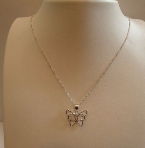 925 STERLING SILVER DESIGNER BUTTERFLY NECKLACE PENDANT W// .10 cts DIAMONDS