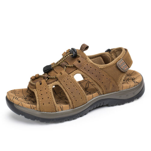 Men/'s Summer Hiking Comfy Leather Sandals Beach Shoes Open Toe Fisherman Flats