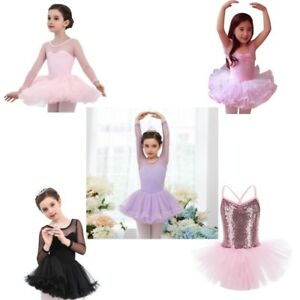 Girls Kids Tutu Ballet Dance Leotard Dress Ballerina Unitard Dancewear Costume