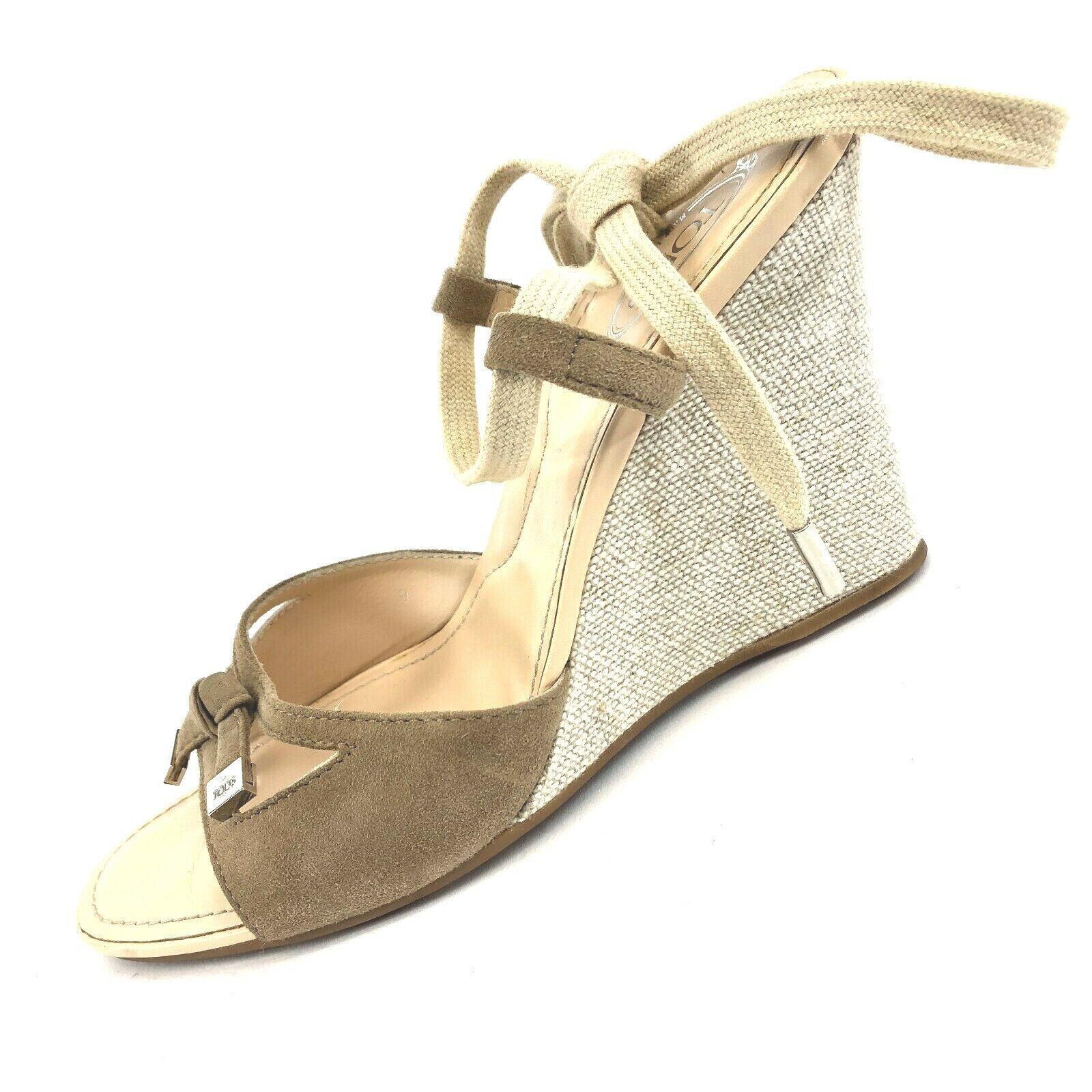 Tods Beige Suede Canvas Ankle Strap Wedge Sandals Made  shoes UK 6 US 8.5