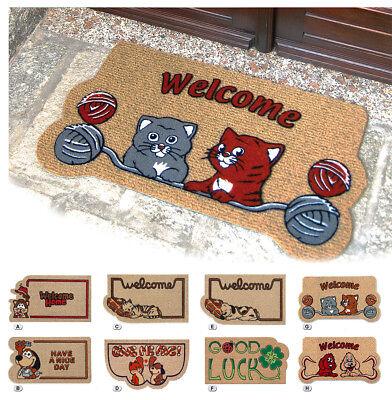 Zerbini Welcome Animali Fiori 40x70 Moderni Esterno Interno Antiscivolo Tappeto Giada Bianca