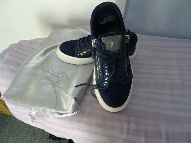 Giuseppe Zanotti Navy Leather Suede Mens Designer Sneakers