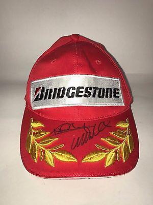 RARE Mark Webber / Nico Rosberg Signed Bridgestone Podium Cap hat MotoGP autogra