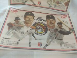 1984-Detroit-Tigers-World-Champions-Elias-Brothers-Plastic-Placemat-Set-of-2