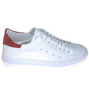 Scarpe uomo sneaker bassa vera pelle made in italy con riporto di camoscio rosso
