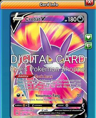Crobat V Pokemon TCG Online PTCGO 104//189 SENT FAST