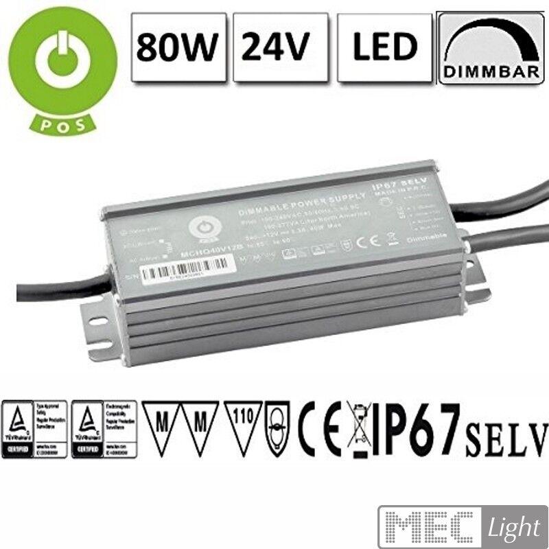 LED Trasformatore dimmerabile con PFC 24v - 80w - 3,33a - impermeabile - (mchq 80v24b-sc) mm