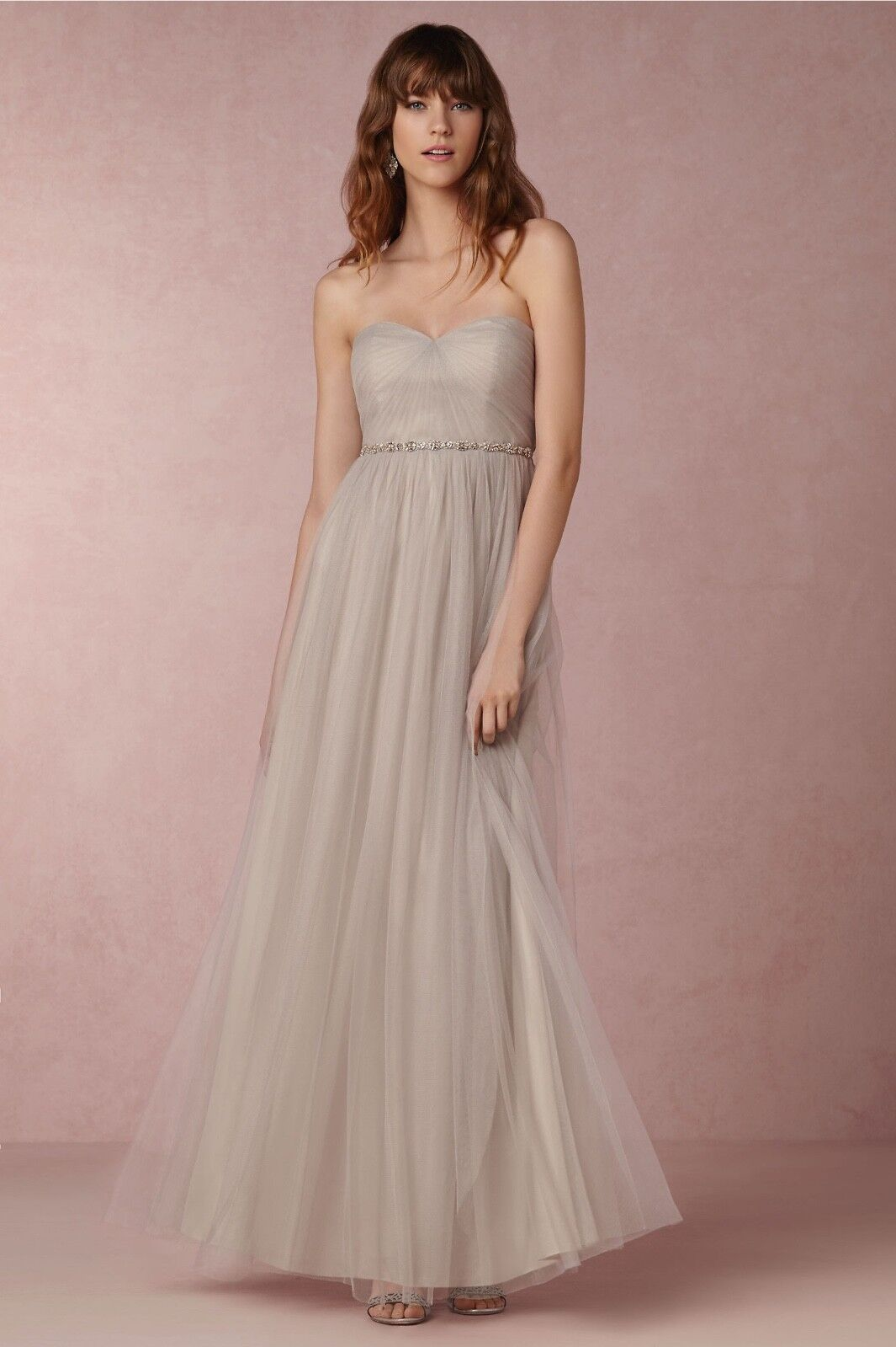 NEW Jenny Yoo  Annabelle  Congreenible Tulle Column Dress, Mink Grey Size 8 Maxi