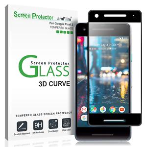 Google-Pixel-2-amfilm-Full-Cover-Protection-d-039-ecran-verre-trempe-Pack-de-1-noir