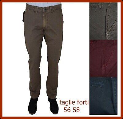 fe150c772982ae pantaloni da uomo a fantasia in cotone estivi chino slim fit blu casual 54  56 58   eBay