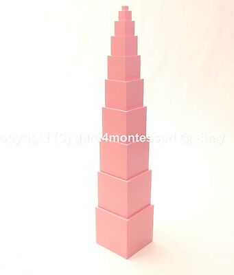 Clearance Montessori Sensorial Materials - Solid Basswood Pink Tower