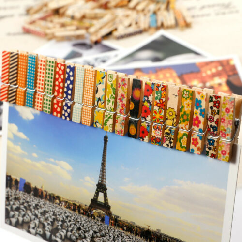 50-100 Painted Mini Wooden Pegs Photo Clips Wedding Christmas Room Table Decor