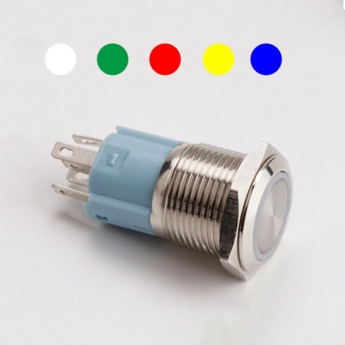 4 Pin 12//16mm Led Light Metal High Round Push Button ON-OFF Switch Waterproof