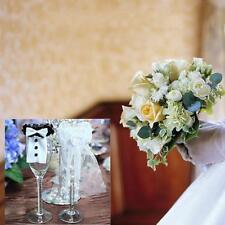 Couple Wedding Party Wine Glass Decor Bride Groom Tux Bridal Veil Toast  Gift W 6064bf9ebe4a