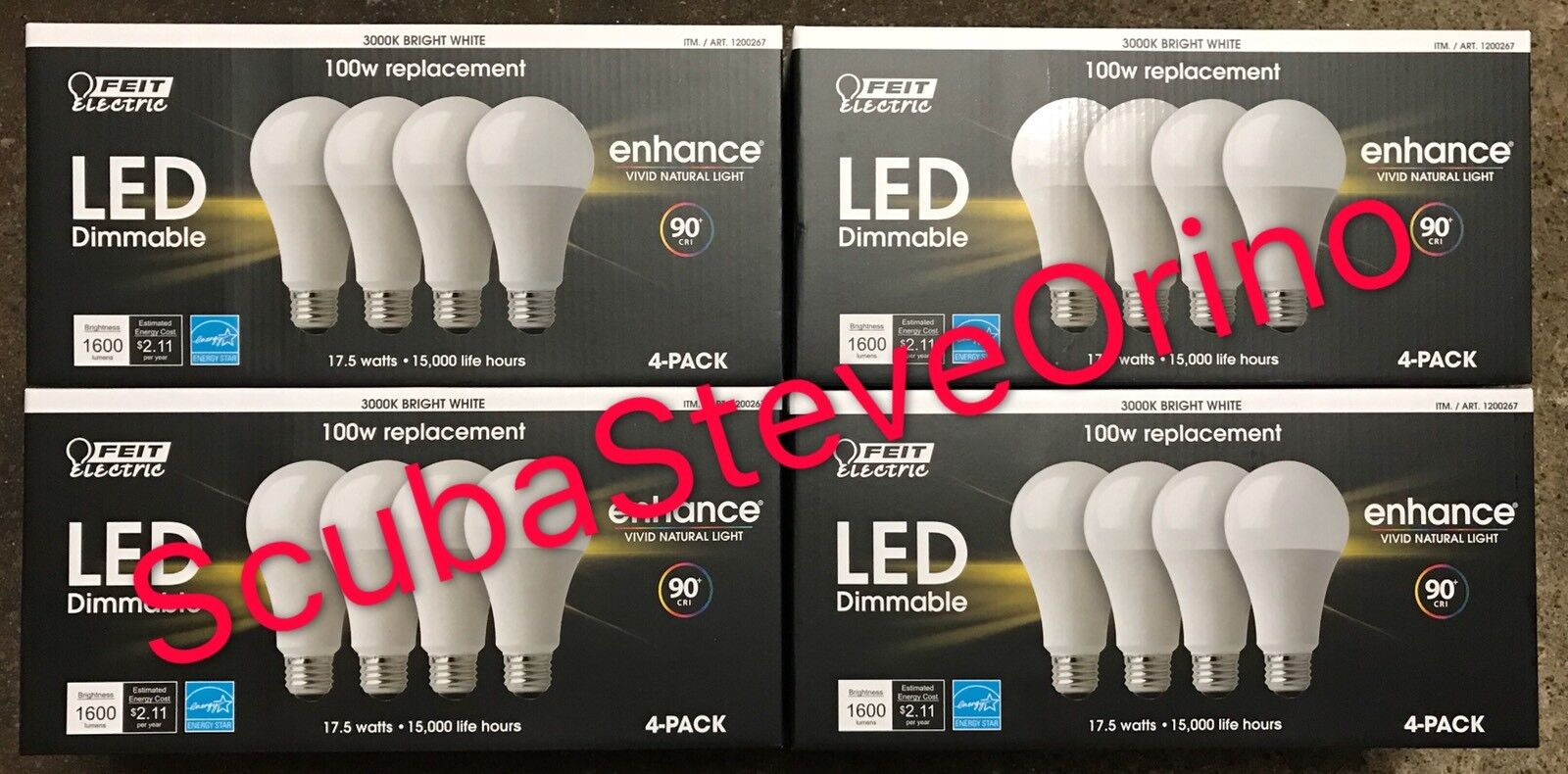 16 x FEIT Electric LED Bulbs 3000K Bright White Dimmable 17.5W = 100W E26