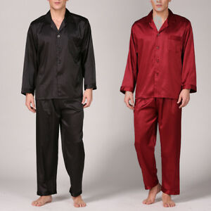 homme satin soie pyjama robe ensemble soyeux manches. Black Bedroom Furniture Sets. Home Design Ideas