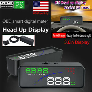 P9 3.6 Car Head Up Display OBD Smart Digital Meter Multi-function Speed Fatigue Warning Fuel Consumption System