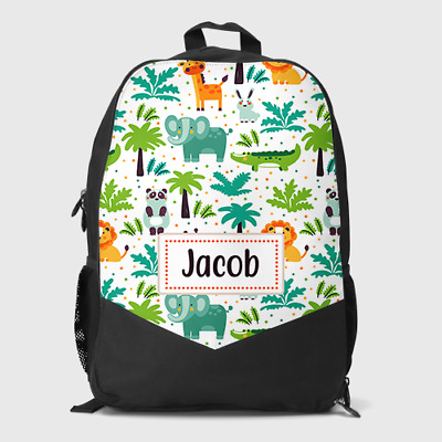 Childrens School Bag Personalised Jungle Safari Zoo Boys Kids Backpack