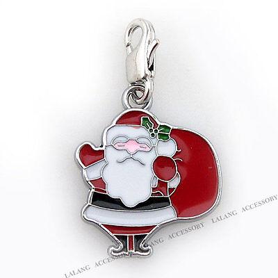 10x 220053 New Charms Enamel Santa Lobster Clip On Beads Pendants
