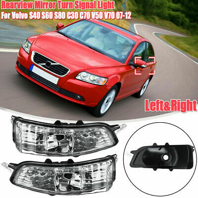 Driver Right Side Wing Mirror Indicator Light Len Fit Volvo C30 C70 S40 S60 S80