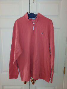 Men Vineyard Vines Jersey 1/4 Zip Harbor Jetty Red Long Sleeve Pullover Size XL